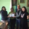 Overhandiging cheque aan weeshuis in Mongolie